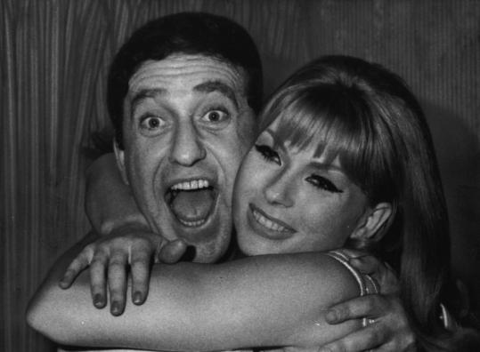 Soupy Sales was embraced by Hanne Bork after his Broadway debut in 1967. He had one of TV's most recognizable faces.