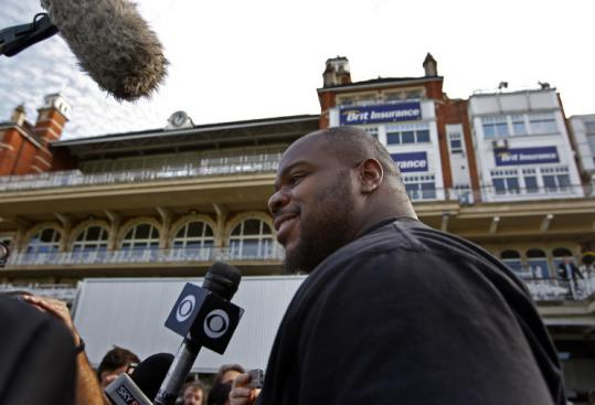 Jim Davis/Globe Staff Patriots nose tackle Vince Wilfork is in unfamiliar territory - Wembley Stadium - as he takes questions from the media.