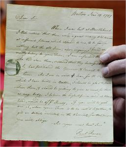 Wayne Butler, chairman of the Marblehead Historical Commission, held a recently discovered letter by Paul Revere.