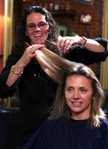 "Salon owner Deborah Boles (with Emma Nelson) gets her clients to open up about how the economy has affected them on PBS's ""Close to Home.''"