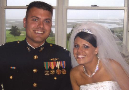 Marine Captain Kyle R. VanDeGiesen, who was killed in Afghanistan yesterday, is shown with his wife, Megan.
