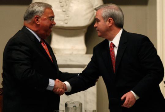 Mayor Menino and Michael Flaherty shook hands last night after their final debate.