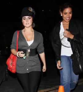 JoJo (left) and Jordin Sparks leaving the Bardot Lounge in Hollywood on Tuesday night.