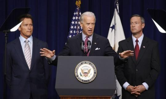 Vice President Joe Biden was flanked by California Governor Arnold Schwarzenegger and Maryland Governor Martin O'Malley as he talked about the economic stimulus plan.