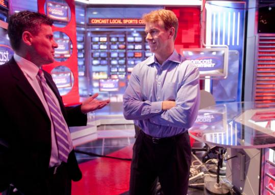 Bill Bridgen (right), general manager and executive vice president for Comcast SportsNet, spoke with SportsNet Central anchor Kevin Walsh.