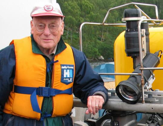 "Dr. Robert H. Rines, with ROV ""Global Explorer'' at Loch Ness in Scotland."