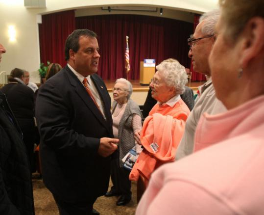 Chris Christie, Republican candidate for New Jersey governor, spoke to residents at a senior housing center yesterday.