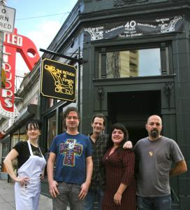 At the Plough, (from left) chef Stephanie Costa, music booker Jim Seery, drummer Larry Dersch, co-owner Jennifer Lockwood, and saxophonist Dana Colley.
