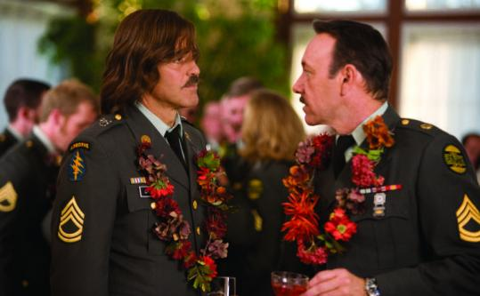 "George Clooney (left) and Kevin Spacey in ""The Men Who Stare at Goats.''"
