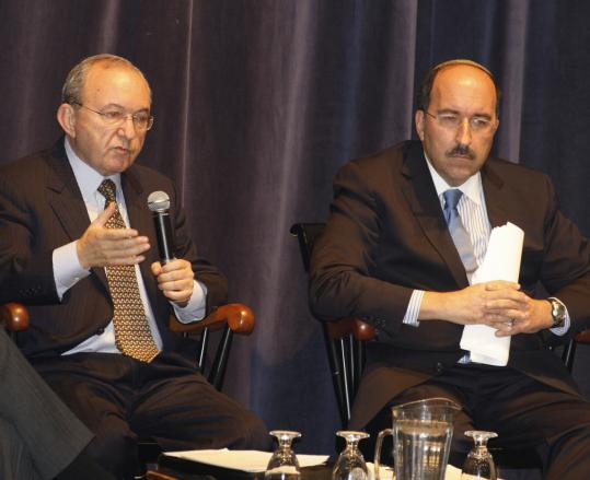 At Brandeis last night, Richard Goldstone (left) defended his UN report on Israel's actions in the Gaza invasion. Diplomat Dore Gold said it all but ignored Israel's right to defend itself.