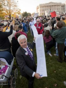 Representative John Shadegg displayed a copy of the House health bill at a rally against the legislation yesterday.