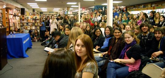 "Fans packed Brookline Booksmith to see John Krasinski, who read excerpts from David Foster Wallace's ""Brief Interviews With Hideous Men.''"