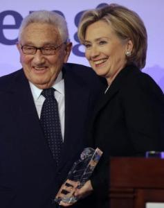 Hillary Rodham Clinton, with Henry Kissinger, accepted the Freedom Award from the Atlantic Council yesterday.