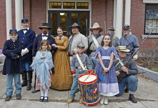 Civil War reenactors portrayed members of the Union and Confederate armies in front of Groton Town Hall last month.