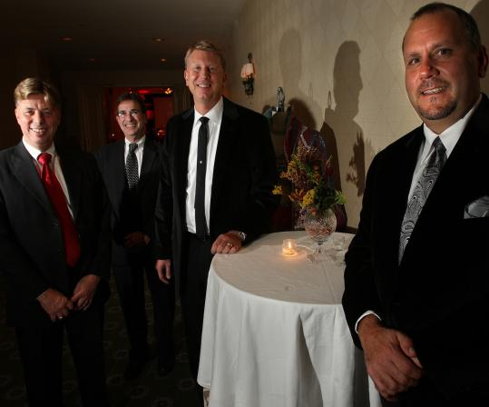 Couples (from left) Donald G. Cornuet and Stephen Weiner, and John Fiske III and Daniel Ludden were the hosts of a Boston Opera gala last week at Rowes Wharf. In recent years, gay and lesbian philanthropists are choosing to be recognized as couples.