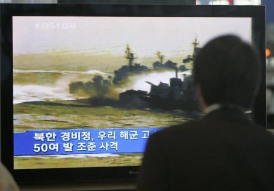 A report viewed at the Seoul railway station yesterday showed file footage of a sea battle between the two Koreas in 2002.
