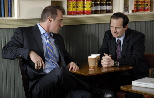 "Christopher Meloni (left) and Denis O'Hare star in ""Brief Interviews With Hideous Men.''"
