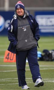 A warmly dressed Bill Belichick appears to have a bounce in his step as his Patriots prepare for the rival Colts.
