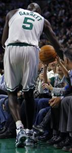 Kevin Garnett and the Celtics didn't need much help, but this young fan got an assist.