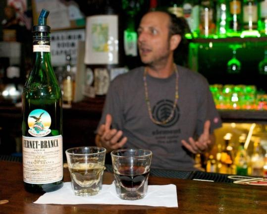 Fernet Branca is an inky Italian liqueur served with a ginger ale chaser at the Little Shamrock in San Francisco's Inner Sunset neighborhood.