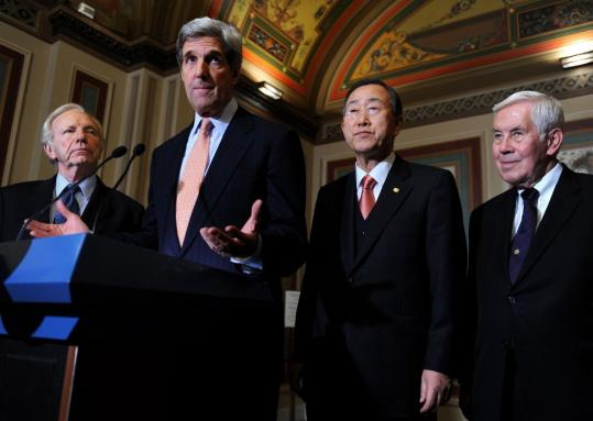John F. Kerry with (from left) Senator Joseph I. Lieberman, UN Secretary General Ban Ki-moon, and Senator Richard G. Lugar after a meeting on climate change.