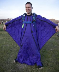 "Stephen Millard Harrington, decked out in a blue ""wingsuit.''"