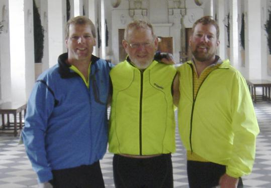 Robert Zeeb (center) with sons Peter and Noel during a bike trip in France to celebrate Robert Zeeb's 70th birthday.