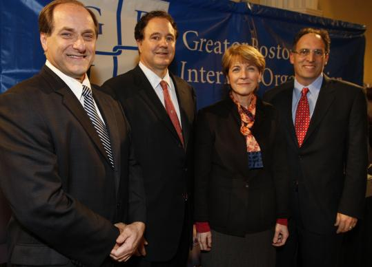 Democractic US Senate contenders (from left) Michael E. Capuano, Stephen G. Pagliuca, Martha Coakley, and Alan Khazei addressed the Greater Boston Interfaith Organization's concerns last night at Bethel AME Church in Jamaica Plain.