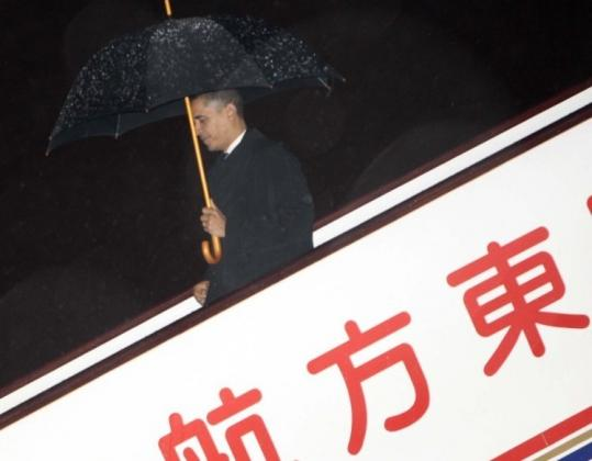 President Obama arrived at Pudong International Airport in Shanghai late last night on his first visit to China.
