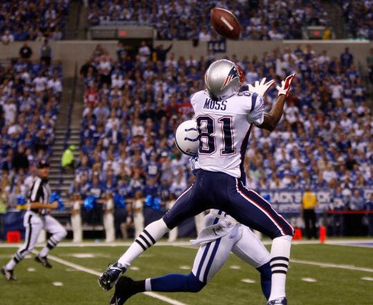 Wide receiver Randy Moss got the jump on Colts safety Antoine Bethea for a 63-yard touchdown in the second quarter that gave the Patriots a 17-7 lead.