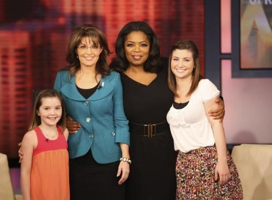 Oprah Winfrey welcomed Sarah Palin and her daughters Piper (left) and Willow to her show in Chicago last week. Palin attributed the GOP loss in the 2008 election to a sinking economy.
