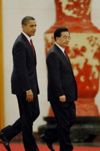 President Obama walked with Chinese President Hu Jintao during a ceremony at the Great Hall of the People.