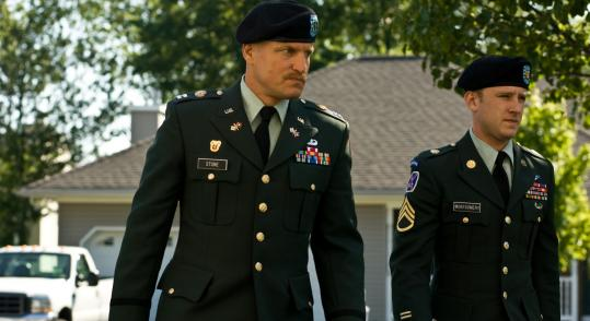"In ""The Messenger,'' Woody Harrelson (left) and Ben Foster are a captain and staff sergeant who deliver news of soldiers' deaths to significant others and parents."
