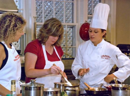 Kerri Bouffard of the New England Culinary Institute leads a class at The Essex, where Butler's offers gourmet fare.