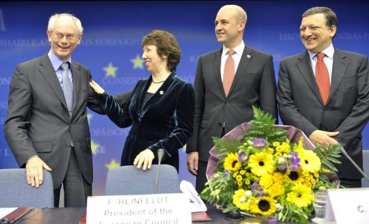 Herman Van Rompuy (left) was congratulated as the new European Union president. Pictured are Catherine Ashton, EU foreign minister; Fredrik Reinfeldt, Sweden's prime minister; and José Manuel Barroso, European Commission president.
