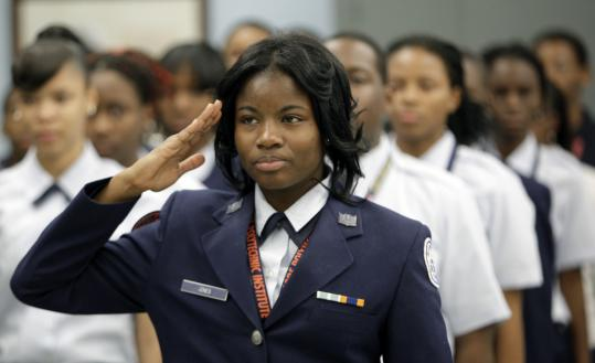 Junior ROTC students drilled at Baltimore Polytechnic Institute, in Representative Elijah Cummings's district. Cummings regularly makes service academy appointments.
