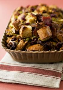 for corn bread stuffing with leeks, bacon, cranberries, and pecans ...
