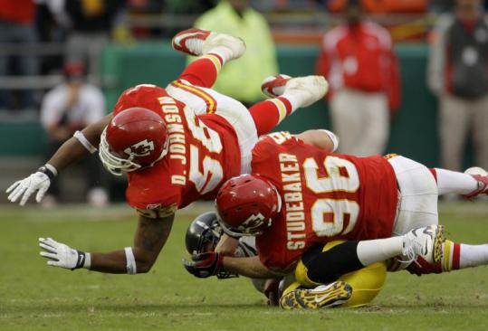 Ben Roethlisberger was hurt on this play in overtime Sunday, hit by the Chiefs' Andy Studebaker and Derrick Johnson.