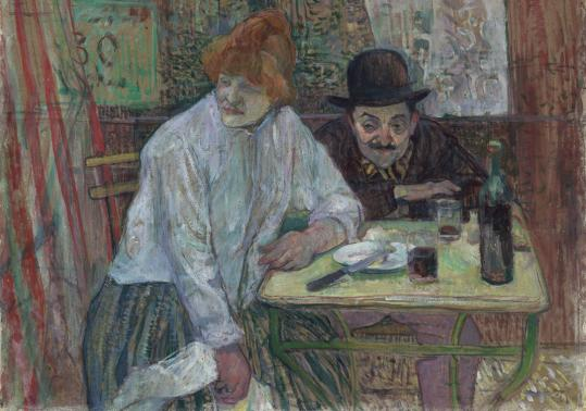 "COURTESY OF THE MUSEUM OF FINE ARTS Above: Henri de Toulouse-Lautrec's ""At the Café La Mie.'' Below: Théophile-Alexandre Steinlen's poster ""Yvette Guilbert - At the Ambassadeurs Café-Concert.''"