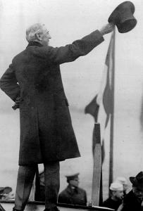 Woodrow Wilson, shown here bidding farewell to France, is often associated primarily with foreign affairs, but was also as a leader on domestic issues.