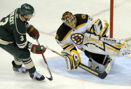 Tuukka Rask blocked Marek Zidlicky's shootout attempt in the Bruins' 2-1 victory over the Wild Wednesday night in St. Paul.
