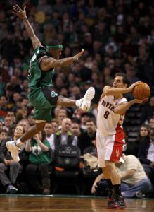 Rajon Rondo went to great lengths trying to stop this pass by the Raptors' Jose Calderon.