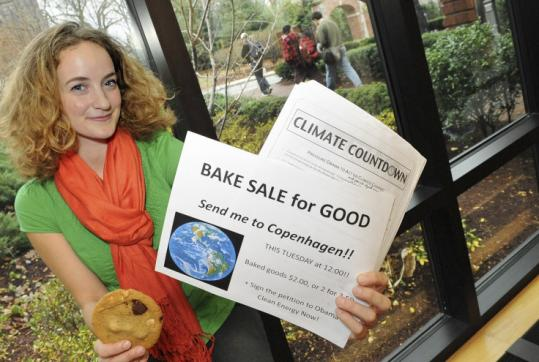 Tufts student Odette Mucha raised $300 for her Copenhagen trip by selling cookies. The two-week summit starts Dec. 7.