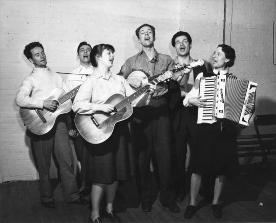 Bess Lomax Hawes, with the Almanac Singers, from left: Woody Guthrie, Millard Lampell, Ms. Hawes, Pete Seeger, Arthur Stern, and Sis Cunningham.