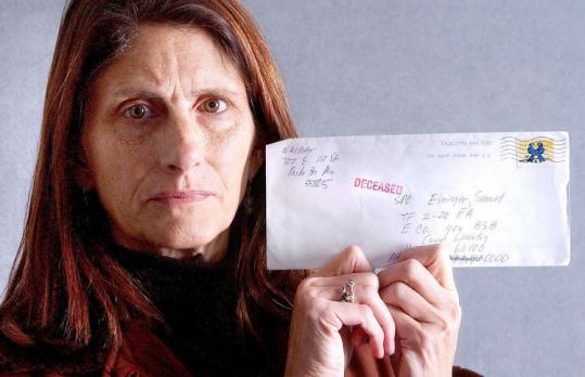 "Joan Najbar held a letter she mailed in 2006 to her son in Iraq that was returned marked ""deceased.'' He is alive."