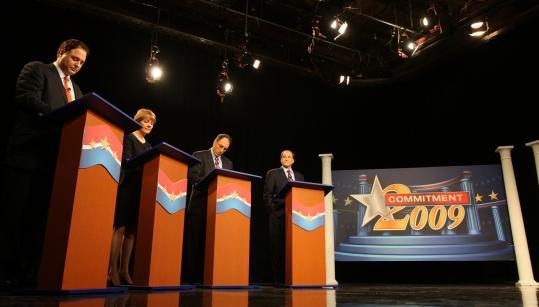 From left, Stephen Pagliuca, Martha Coakley, Alan Khazei, and Michael Capuano at last night's debate.