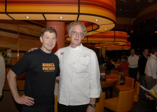 Bobby Flay, left, and Jasper White return to Mohegan Sun next month for the Sun Wine Fest.