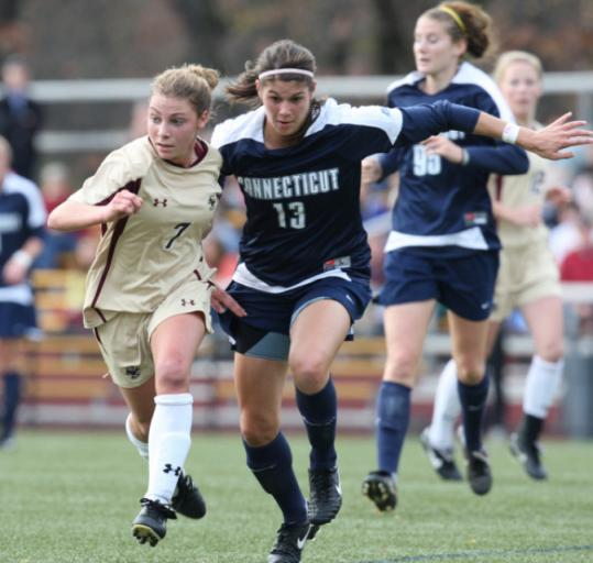 In high school, Amy Caldwell (7) (left) and Kristen Mewis (19) knew of each other and sometimes played against each other, but this season is the first time they're been teammates - on Boston College's women's soccer team.