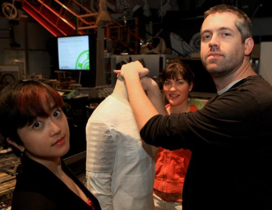 MIT students Yoda Patta (left) and Adam M. Whiton worked with Yolita Nugent, an apparel designer.