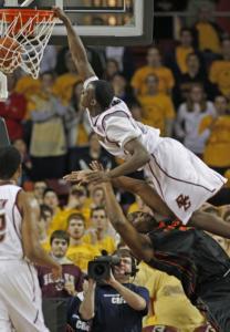 BC's Reggie Jackson throws down a ferocious dunk, but is called for a charge.